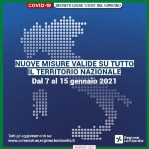 Coronavirus – nuove misure valide dal 7 al 15 gennaio 2021